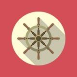 Значок вектора кормила корабля плоский Стоковые Изображения