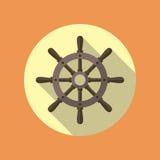 Значок вектора кормила корабля плоский Стоковое Изображение RF
