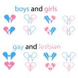 Значок вектора - красочные розовые и свет-голубые сердца логотипов головоломки Идея нормальной семьи и символа для гомосексуально иллюстрация вектора