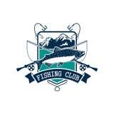 Значок вектора клуба рыбной ловли с salmon рыбами Стоковые Фотографии RF
