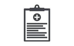 Значок вектора медицинской доски сзажимом для бумаги плоский Стоковое Изображение