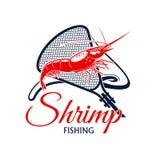Значок вектора поездки на рыбалку креветки и fishnet Стоковая Фотография RF