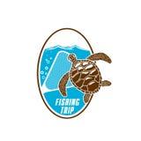 Значок вектора поездки на рыбалку черепахи и fishnet Стоковое Изображение