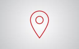 Значок вектора положения Стиль символ значка хода плоский, красный цвет, серая предпосылка Иллюстрация вектора