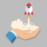 Значок вектора ракеты владением руки Стоковое Изображение