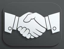 Значок вектора рукопожатия - концепция дела на белой предпосылке Стоковые Изображения