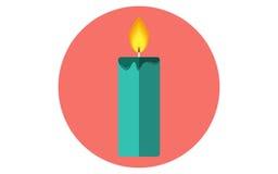 Значок вектора свечи рождества плоский Стоковая Фотография RF