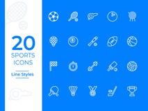 Значок вектора 20 спорт простые значки вектора плана для сети или черни бесплатная иллюстрация