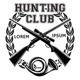 Значок вектора спорт monochrome с оружием и рожком сигнала для клуба звероловства Стоковые Изображения