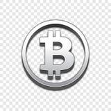 Значок вектора стиля 3d Bitcoin ультрамодный Стоковая Фотография RF