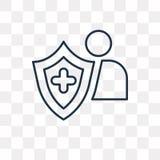 Значок вектора страхования изолированный на прозрачной предпосылке, линейной иллюстрация штока