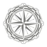 Значок вектора с лимбом картушки компаса Стоковое Изображение RF