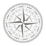 Значок вектора с лимбом картушки компаса Стоковое Изображение
