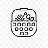 Значок вектора шить корзины линейный изолированный на прозрачной предпосылке, концепция транспарентности шить корзины можно испол иллюстрация вектора