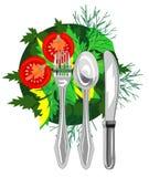Значок вектора для органической еды eco Стоковое фото RF