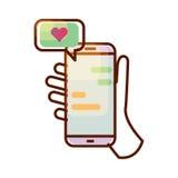 Значок вектора Smartphone с сообщением влюбленности в руке Стоковое Изображение RF