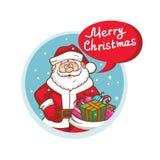 Значок веселого рождества плоский с Санта Клаусом иллюстрация вектора