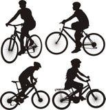 Значок велосипедиста и цикла Стоковое Фото