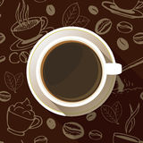 Значок взгляд сверху кофейной чашки плоский Стоковое Фото