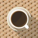 Значок взгляд сверху кофейной чашки плоский Стоковая Фотография