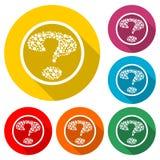 Значок вопросительного знака или логотип, набор цвета с длинной тенью иллюстрация вектора