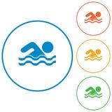 Значок водных видов спорта заплывания Стоковые Фотографии RF