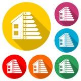 Значок выхода по энергии снабжения жилищем, дом и концепция выхода по энергии, значок цвета с длинной тенью Стоковые Фото
