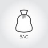 Значок в линии стиле сумки холста для хранить урожаи, сахар, мука и другие продукты Концепция кулинарных и сбора иллюстрация вектора