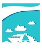 Значок в океане, бумажный cuuting пассажирского корабля и парусника Стоковые Фото