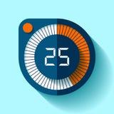 Значок в плоском стиле, круглый таймер секундомера на предпосылке цвета Часы спорта Элемент дизайна вектора для вас проект дела Стоковые Изображения