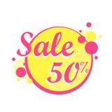 Значок в плакате круга, знамя продажи Colorfull Большая продажа, зазор 50  также вектор иллюстрации притяжки corel Стоковое Изображение