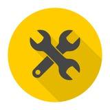 Значок гаечного ключа с длинной тенью бесплатная иллюстрация