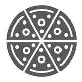 Значок глифа пиццы, еда и итальянец, знак фаст-фуда, векторные графики, твердая картина на белой предпосылке иллюстрация вектора
