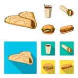Значок голодайте, еды, еды и другого сети в шарже, плоском стиле Блинчики, мука, продукты, значки в собрании комплекта иллюстрация штока