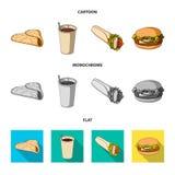 Значок голодайте, еды, еды и другого сети в шарже, плоском, monochrome стиле Блинчики, мука, продукты, значки в комплекте иллюстрация штока