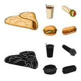 Значок голодайте, еды, еды и другого сети в шарже, стиле черноты Блинчики, мука, продукты, значки в собрании комплекта бесплатная иллюстрация