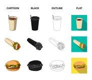 Значок голодайте, еды, еды и другого сети в шарже, черноте, плане, плоском стиле Блинчики, мука, продукты, значки в комплекте иллюстрация штока