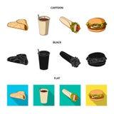 Значок голодайте, еды, еды и другого сети в шарже, черноте, плоском стиле Блинчики, мука, продукты, значки в собрании комплекта иллюстрация штока