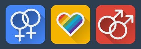Значок гомосексуалиста влюбленности плоский Стоковое Изображение