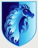 Значок гребня красивого одичалого жеребца голубой Стоковая Фотография RF