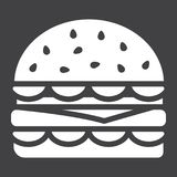 Значок глифа гамбургера, еда и питье, фаст-фуд иллюстрация штока