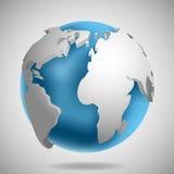 значок глобуса земли 3d с иллюстрацией вектора тени Стоковое Фото