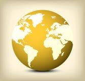 значок глобуса золота вектора на желтой предпосылке Стоковое Изображение