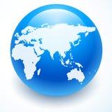 Значок глобуса с белой картой континентов Стоковое Изображение RF