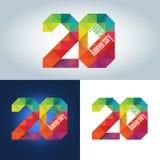 значок двадцатой годовщины красочный геометрический триангулярный Стоковое Изображение