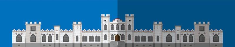 Значок дворца Плоское изображение, переднее здание иллюстрация штока