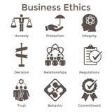 Значок деловой этики твердый установленный с честностью, целостностью, Commitme иллюстрация вектора