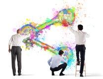 Значок доли краски человека дела на стене белизна изолированная предпосылкой стоковые изображения rf