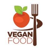 Значок еды Vegan для вегетарианского меню кафа яблока и вилка vector плоские шаблоны иллюстрация вектора