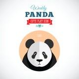 Значок еженедельной панды милый плоский животный - унылый Стоковое Фото